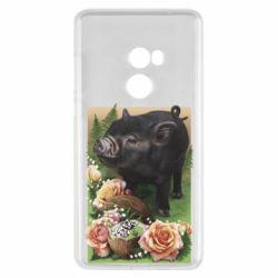 Чехол для Xiaomi Mi Mix 2 Black pig and flowers