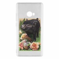 Чехол для Xiaomi Mi Note 2 Black pig and flowers