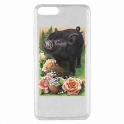 Чехол для Xiaomi Mi Note 3 Black pig and flowers