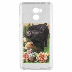 Чехол для Xiaomi Redmi 4 Black pig and flowers