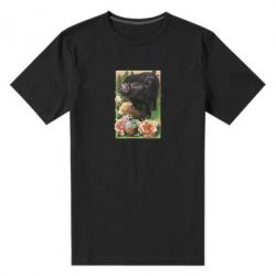 Мужская стрейчевая футболка Black pig and flowers