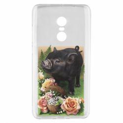 Чехол для Xiaomi Redmi Note 4 Black pig and flowers
