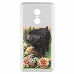 Чехол для Xiaomi Redmi Note 4x Black pig and flowers