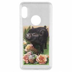 Чехол для Xiaomi Redmi Note 5 Black pig and flowers