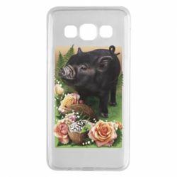 Чехол для Samsung A3 2015 Black pig and flowers