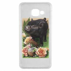 Чехол для Samsung A3 2016 Black pig and flowers