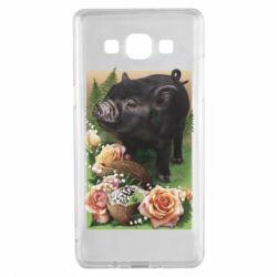Чехол для Samsung A5 2015 Black pig and flowers