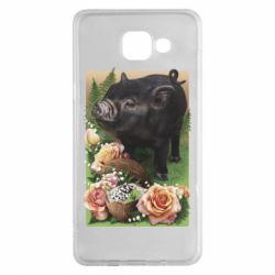 Чехол для Samsung A5 2016 Black pig and flowers