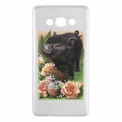 Чехол для Samsung A7 2015 Black pig and flowers