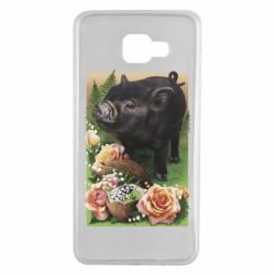 Чехол для Samsung A7 2016 Black pig and flowers