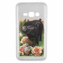 Чехол для Samsung J1 2016 Black pig and flowers