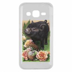 Чехол для Samsung J2 2015 Black pig and flowers