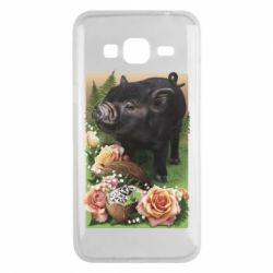 Чехол для Samsung J3 2016 Black pig and flowers