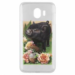 Чехол для Samsung J4 Black pig and flowers