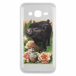 Чехол для Samsung J5 2015 Black pig and flowers