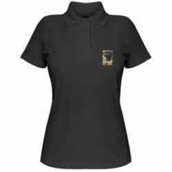 Женская футболка поло Black pig and flowers