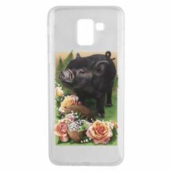 Чехол для Samsung J6 Black pig and flowers