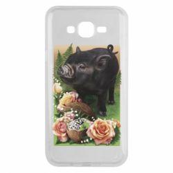 Чехол для Samsung J7 2015 Black pig and flowers