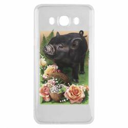 Чехол для Samsung J7 2016 Black pig and flowers