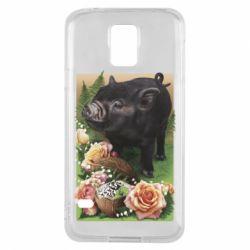 Чехол для Samsung S5 Black pig and flowers