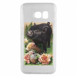 Чехол для Samsung S6 EDGE Black pig and flowers