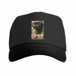 Кепка-тракер Black pig and flowers