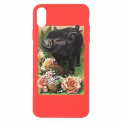 Чохол для iPhone Xs Max Black pig and flowers
