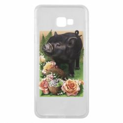 Чехол для Samsung J4 Plus 2018 Black pig and flowers