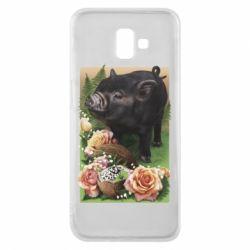 Чехол для Samsung J6 Plus 2018 Black pig and flowers