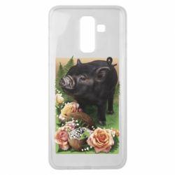 Чехол для Samsung J8 2018 Black pig and flowers