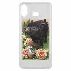 Чехол для Samsung A6s Black pig and flowers