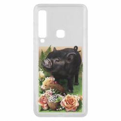 Чехол для Samsung A9 2018 Black pig and flowers