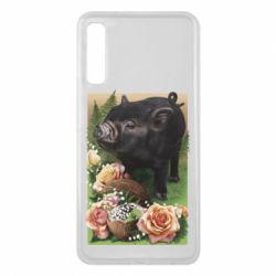 Чохол для Samsung A7 2018 Black pig and flowers