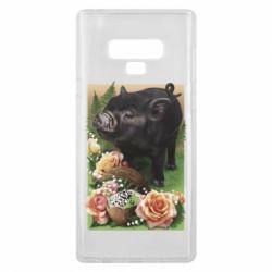 Чехол для Samsung Note 9 Black pig and flowers