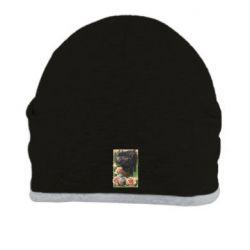 Шапка Black pig and flowers