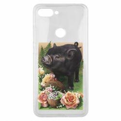 Чехол для Xiaomi Mi8 Lite Black pig and flowers