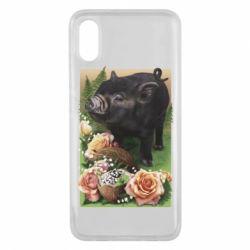 Чехол для Xiaomi Mi8 Pro Black pig and flowers