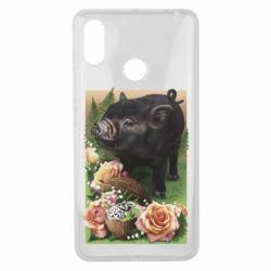 Чехол для Xiaomi Mi Max 3 Black pig and flowers