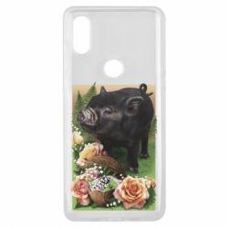 Чехол для Xiaomi Mi Mix 3 Black pig and flowers