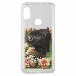 Чехол для Xiaomi Redmi Note 6 Pro Black pig and flowers