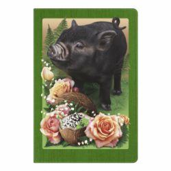 Блокнот А5 Black pig and flowers