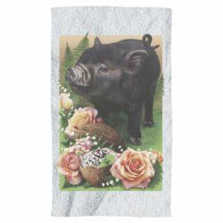 Полотенце Black pig and flowers