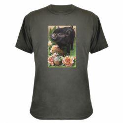 Камуфляжная футболка Black pig and flowers