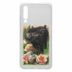 Чехол для Xiaomi Mi9 Black pig and flowers