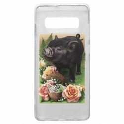 Чехол для Samsung S10+ Black pig and flowers