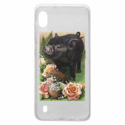 Чехол для Samsung A10 Black pig and flowers
