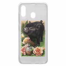 Чехол для Samsung A20 Black pig and flowers