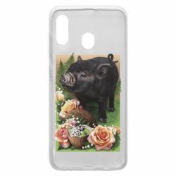 Чехол для Samsung A30 Black pig and flowers