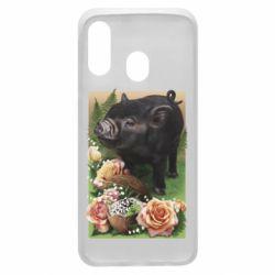 Чохол для Samsung A40 Black pig and flowers