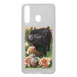 Чохол для Samsung A60 Black pig and flowers